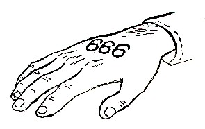 A picture of 666 the mark of the beast on the right hand