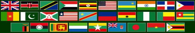 29 international flags of counties where Logos Apostolic Church of God has churches